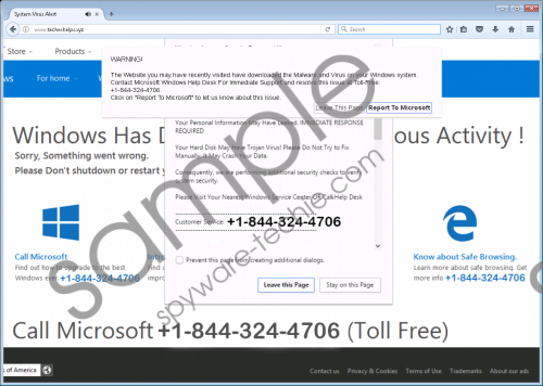 Call Windows Help Desk Immediately Tech Support fake alert Removal Guide