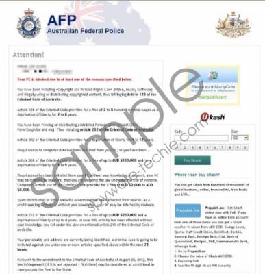 Australian Federal Police Virus Removal Guide