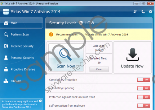 Sirius Win 7 Antivirus 2014 Removal Guide