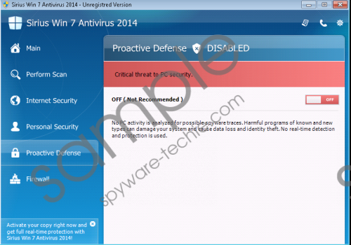 Sirius Win 8 Antispyware 2014 Removal Guide