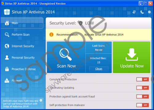 Sirius Win XP Antivirus 2014 Removal Guide
