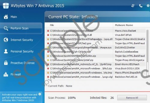 AVbytes Win 8 Protection 2015 Removal Guide