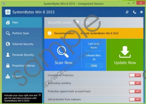 SystemBytes Win 8 2015 Removal Guide