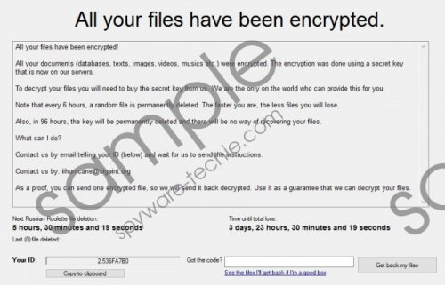 ihurricane@sigaint.org Ransomware Removal Guide