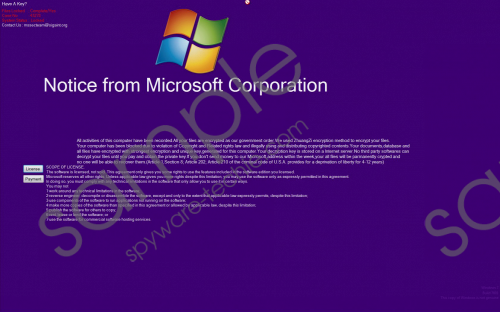 'Notice From Microsoft Corporation' Ransomware Removal Guide