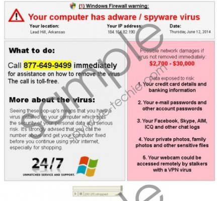 Your computer has adware / spyware virus warning Removal Guide