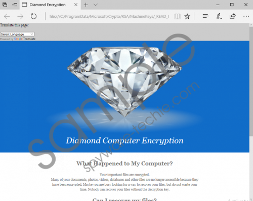 Diamond Computer Encryption Ransomware Removal Guide